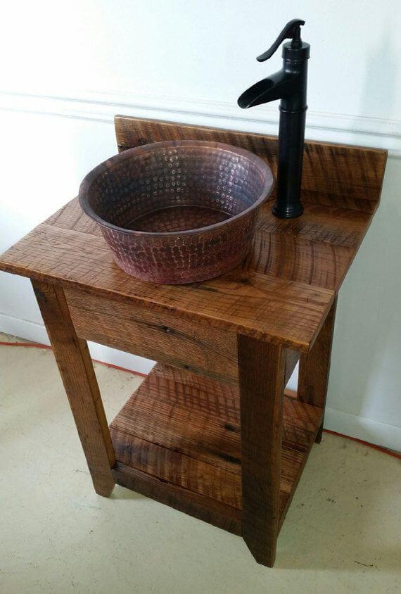 Rustic vessel sinks on wooden tops