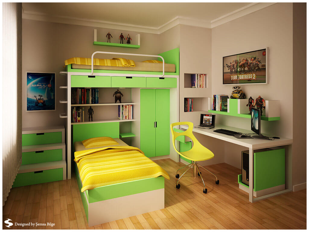 Green bedroom for teens