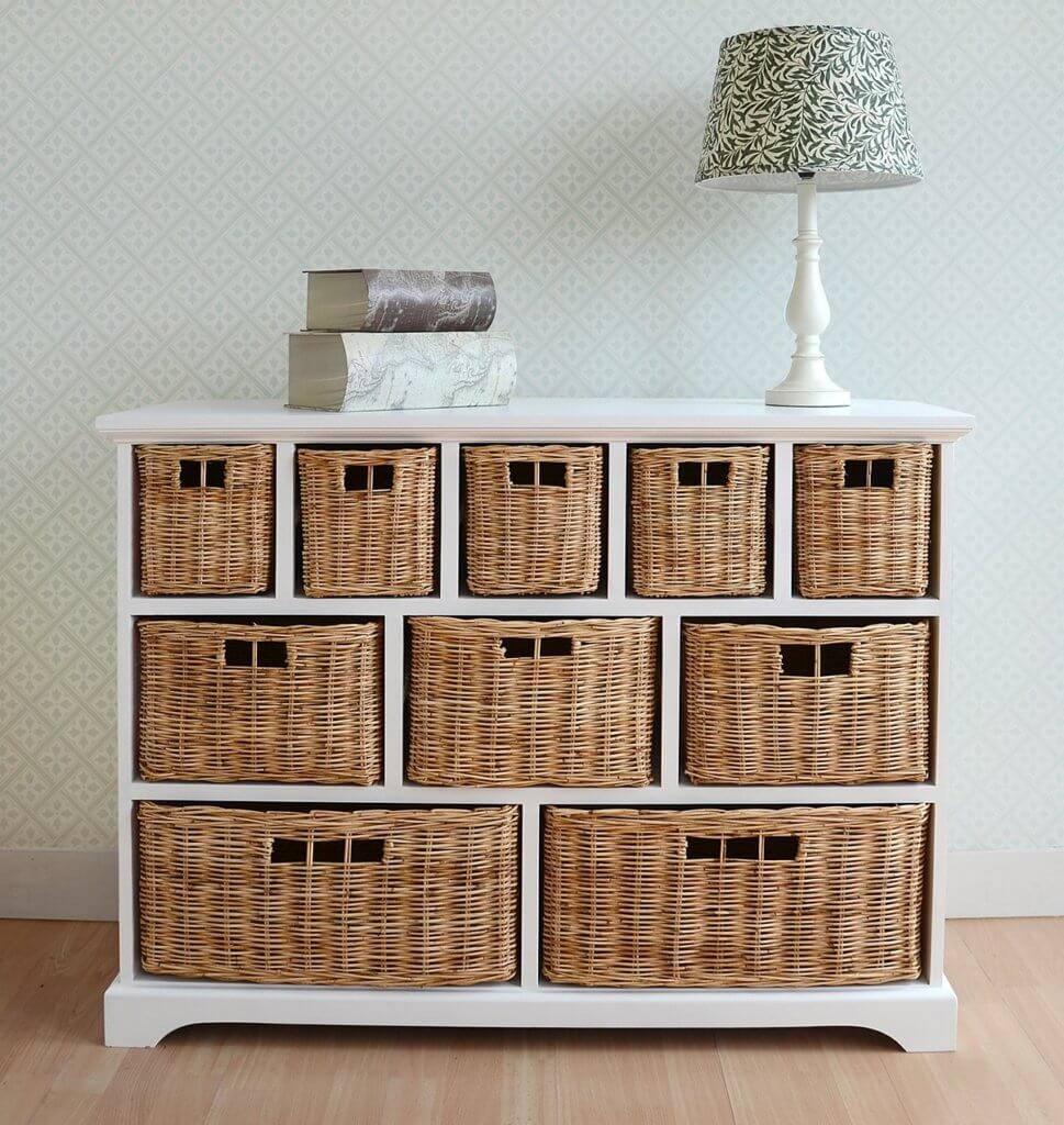 Wicker storage boxes for bedroom