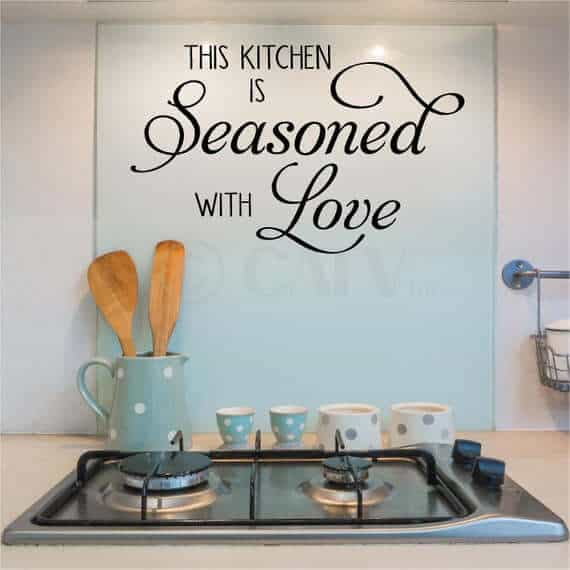 kitchen is seasoned with love sticker idea