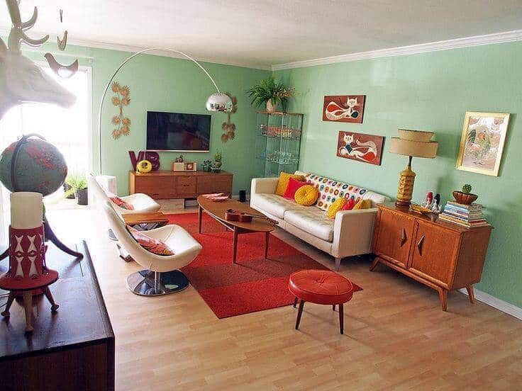 mid century modern living room paint colors