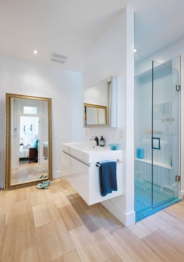 mirrors ideas for walk in shower