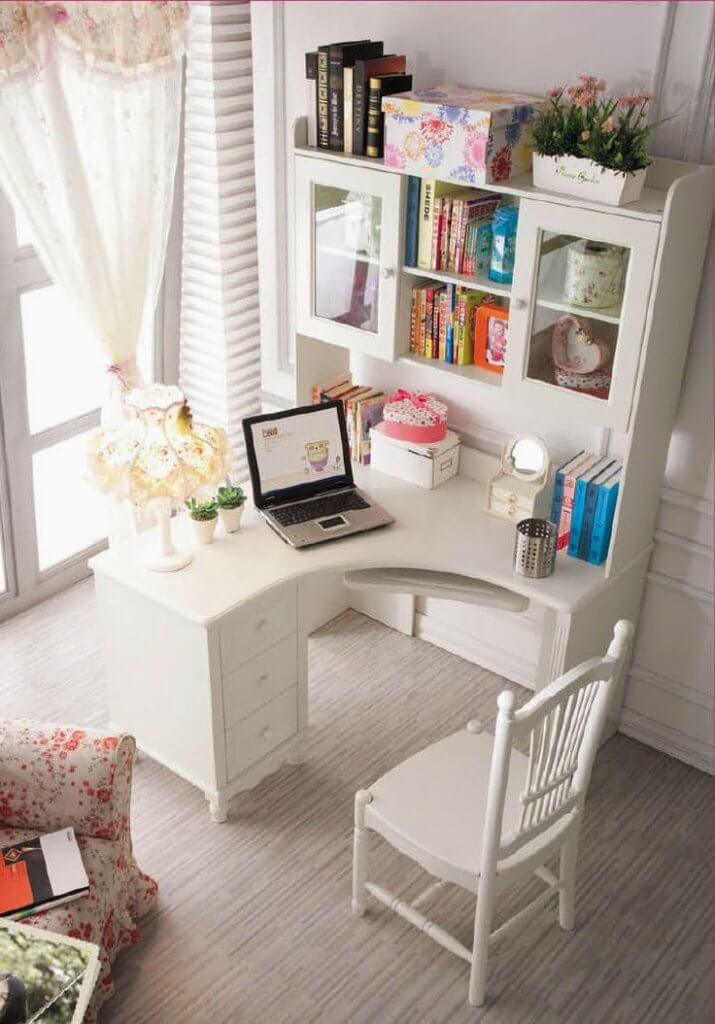white corner office ideas