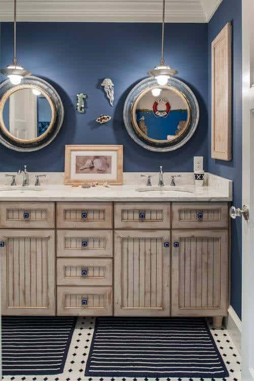 window style mirrors idea for nautical bathroom